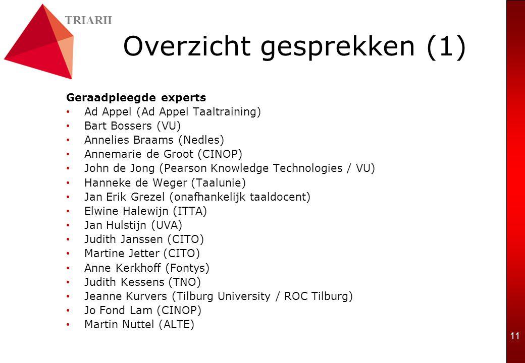 TRIARII 11 Overzicht gesprekken (1) Geraadpleegde experts Ad Appel (Ad Appel Taaltraining) Bart Bossers (VU) Annelies Braams (Nedles) Annemarie de Gro