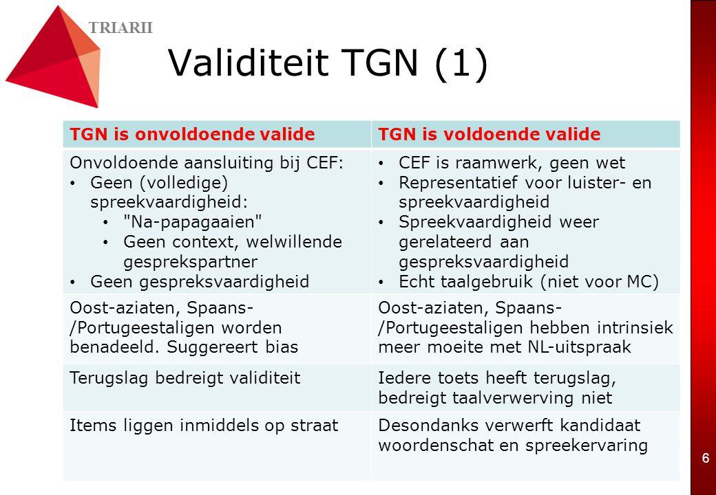 TRIARII 6 Validiteit TGN (1) TGN is onvoldoende valideTGN is voldoende valide Onvoldoende aansluiting bij CEF: Geen (volledige) spreekvaardigheid: Na-papagaaien Geen context, welwillende gesprekspartner Geen gespreksvaardigheid CEF is raamwerk, geen wet Representatief voor luister- en spreekvaardigheid Spreekvaardigheid weer gerelateerd aan gespreksvaardigheid Echt taalgebruik (niet voor MC) Oost-aziaten, Spaans- /Portugeestaligen worden benadeeld.