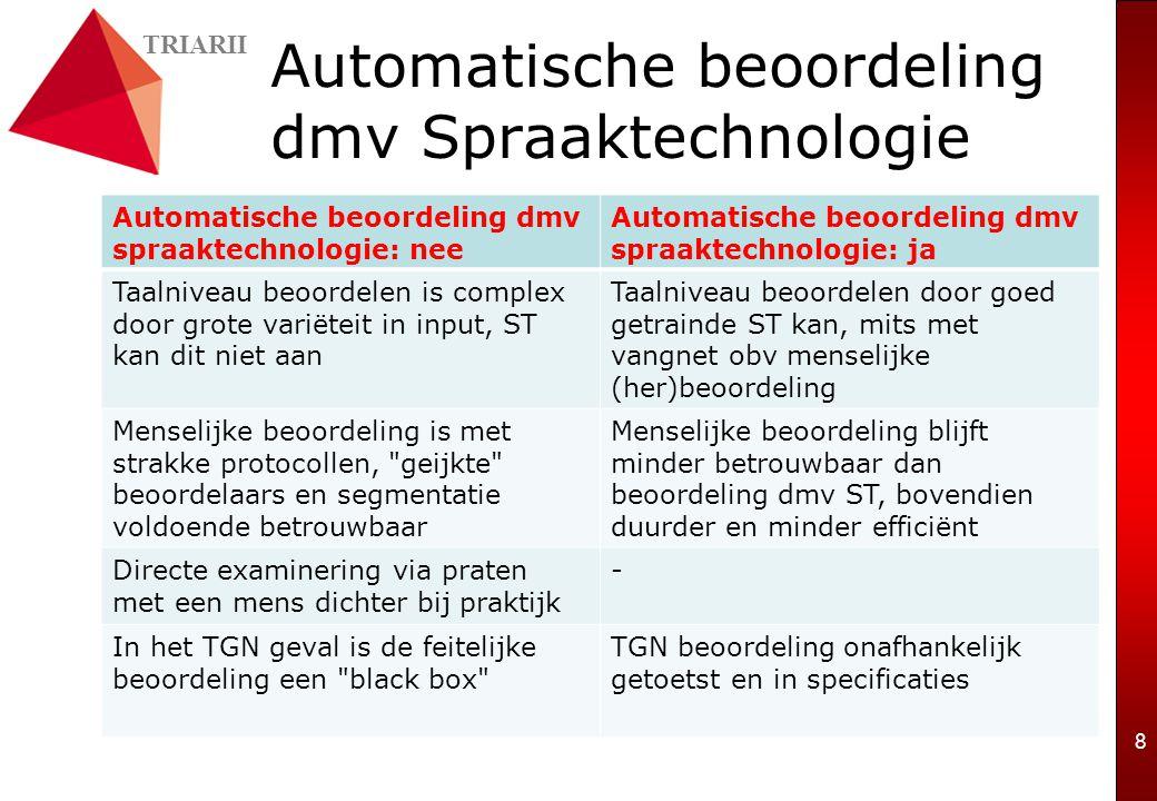 TRIARII 8 Automatische beoordeling dmv Spraaktechnologie Automatische beoordeling dmv spraaktechnologie: nee Automatische beoordeling dmv spraaktechnologie: ja Taalniveau beoordelen is complex door grote variëteit in input, ST kan dit niet aan Taalniveau beoordelen door goed getrainde ST kan, mits met vangnet obv menselijke (her)beoordeling Menselijke beoordeling is met strakke protocollen, geijkte beoordelaars en segmentatie voldoende betrouwbaar Menselijke beoordeling blijft minder betrouwbaar dan beoordeling dmv ST, bovendien duurder en minder efficiënt Directe examinering via praten met een mens dichter bij praktijk - In het TGN geval is de feitelijke beoordeling een black box TGN beoordeling onafhankelijk getoetst en in specificaties