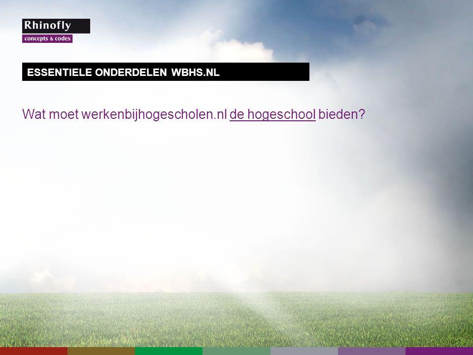 Wat moet werkenbijhogescholen.nl de hogeschool bieden ESSENTIELE ONDERDELEN WBHS.NL