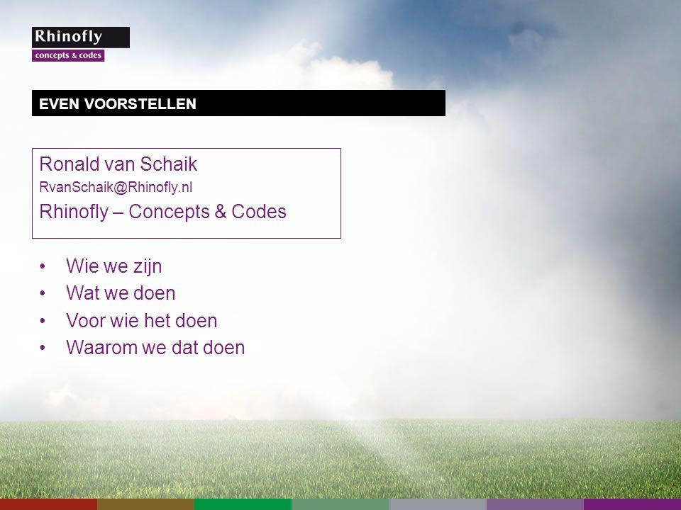 Ronald van Schaik RvanSchaik@Rhinofly.nl Rhinofly – Concepts & Codes Wie we zijn Wat we doen Voor wie het doen Waarom we dat doen EVEN VOORSTELLEN