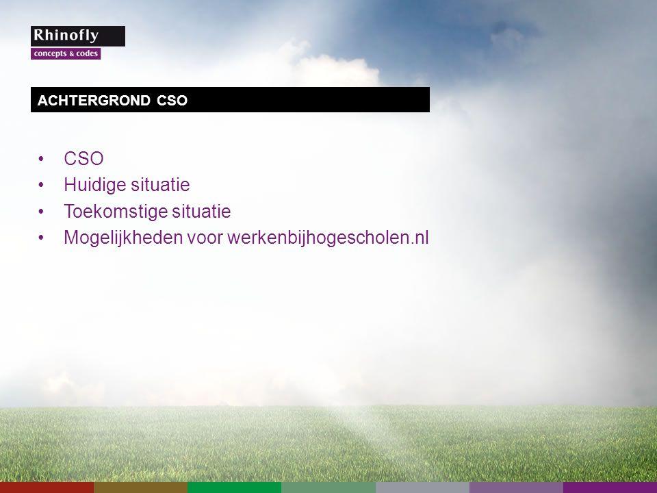 CSO Huidige situatie Toekomstige situatie Mogelijkheden voor werkenbijhogescholen.nl ACHTERGROND CSO