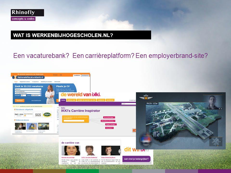 Een vacaturebank Een carrièreplatform Een employerbrand-site WAT IS WERKENBIJHOGESCHOLEN.NL