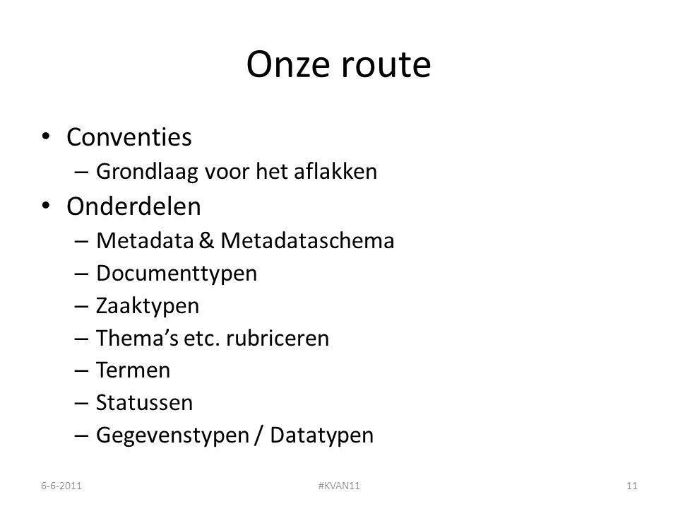 Onze route Conventies – Grondlaag voor het aflakken Onderdelen – Metadata & Metadataschema – Documenttypen – Zaaktypen – Thema's etc.