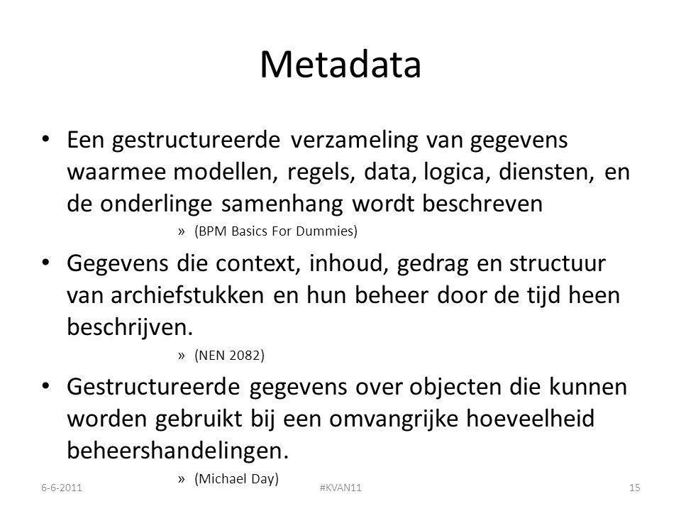 Metadata Een gestructureerde verzameling van gegevens waarmee modellen, regels, data, logica, diensten, en de onderlinge samenhang wordt beschreven » (BPM Basics For Dummies) Gegevens die context, inhoud, gedrag en structuur van archiefstukken en hun beheer door de tijd heen beschrijven.