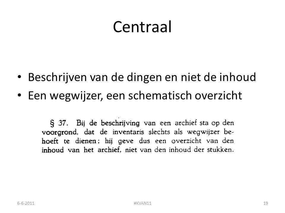 Centraal Beschrijven van de dingen en niet de inhoud Een wegwijzer, een schematisch overzicht 6-6-2011#KVAN1119