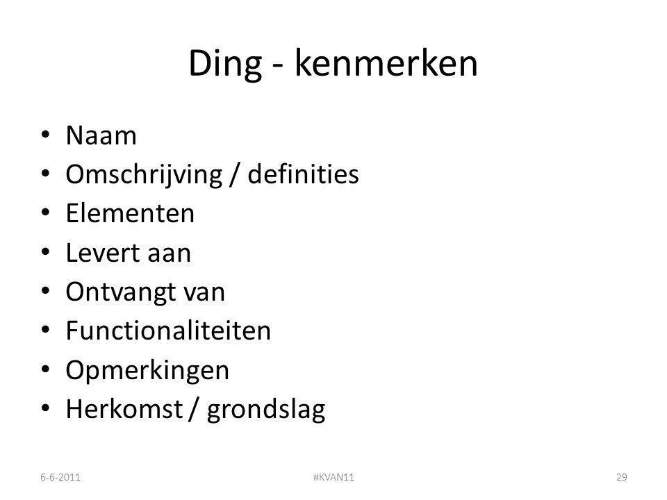 Ding - kenmerken Naam Omschrijving / definities Elementen Levert aan Ontvangt van Functionaliteiten Opmerkingen Herkomst / grondslag 6-6-2011#KVAN1129