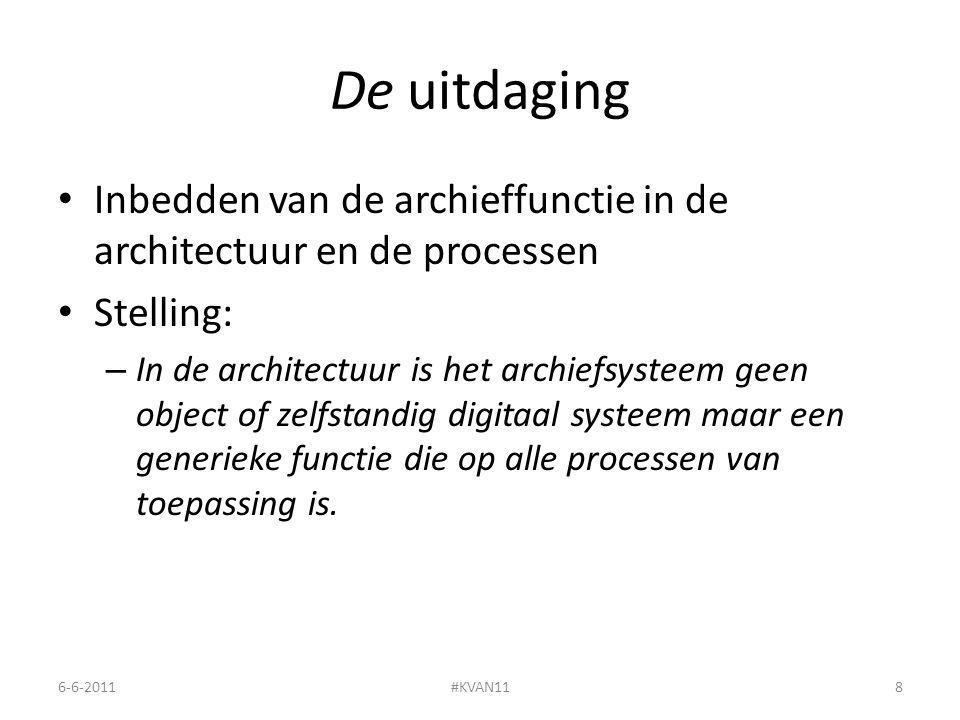 De uitdaging Inbedden van de archieffunctie in de architectuur en de processen Stelling: – In de architectuur is het archiefsysteem geen object of zelfstandig digitaal systeem maar een generieke functie die op alle processen van toepassing is.
