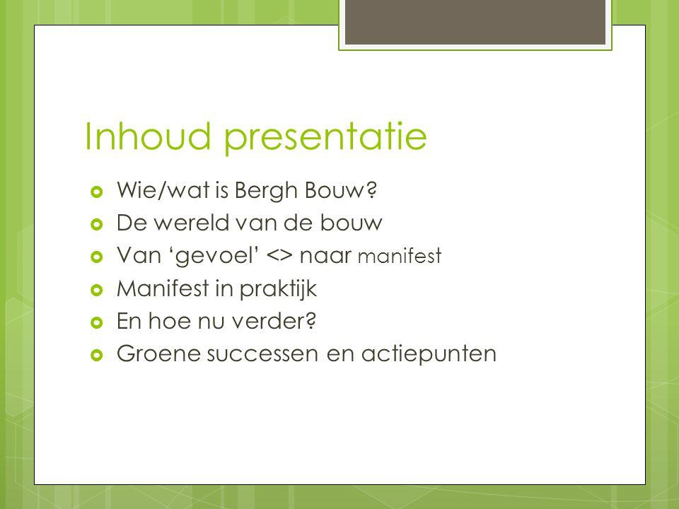 Inhoud presentatie  Wie/wat is Bergh Bouw.