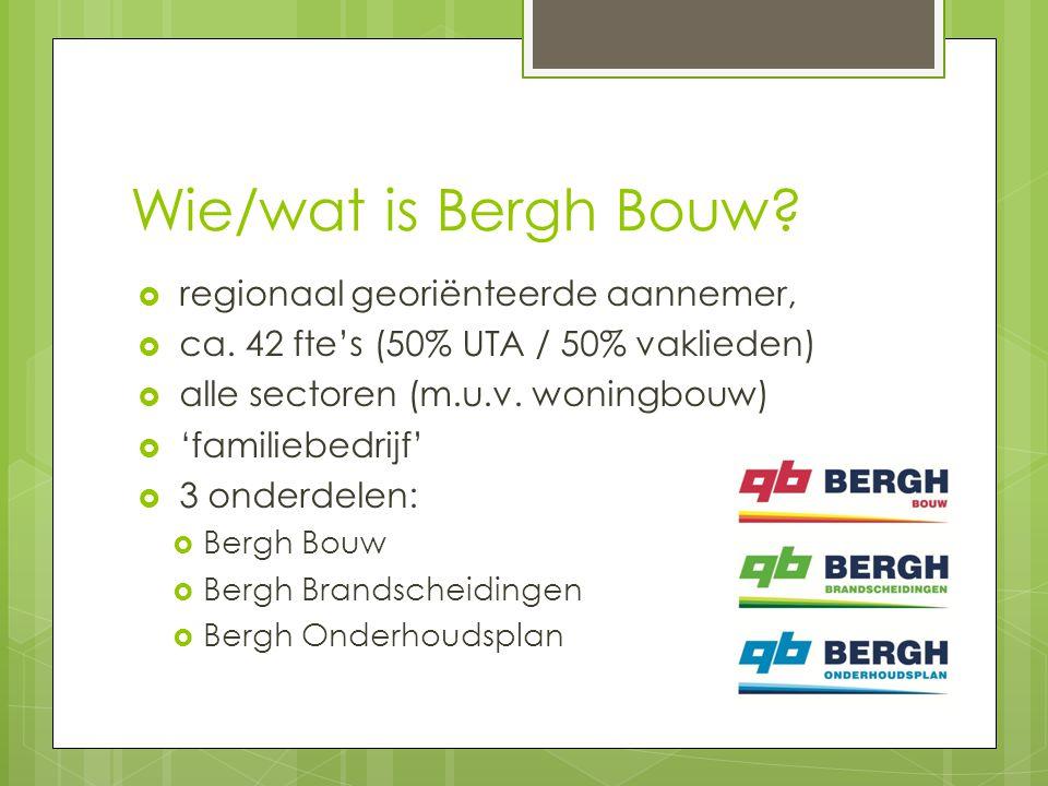 Wie/wat is Bergh Bouw.  regionaal georiënteerde aannemer,  ca.