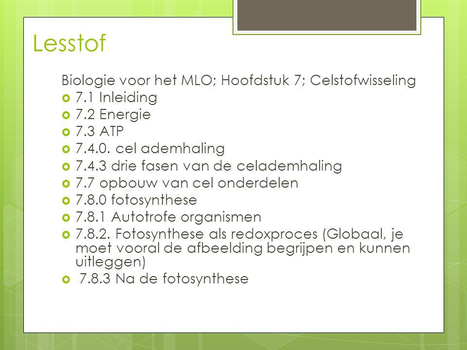 Lesstof Biologie voor het MLO; Hoofdstuk 7; Celstofwisseling  7.1 Inleiding  7.2 Energie  7.3 ATP  7.4.0. cel ademhaling  7.4.3 drie fasen van de