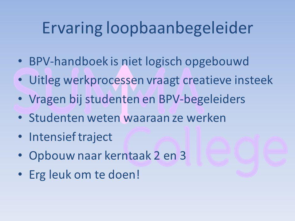 Ervaring loopbaanbegeleider BPV-handboek is niet logisch opgebouwd Uitleg werkprocessen vraagt creatieve insteek Vragen bij studenten en BPV-begeleide