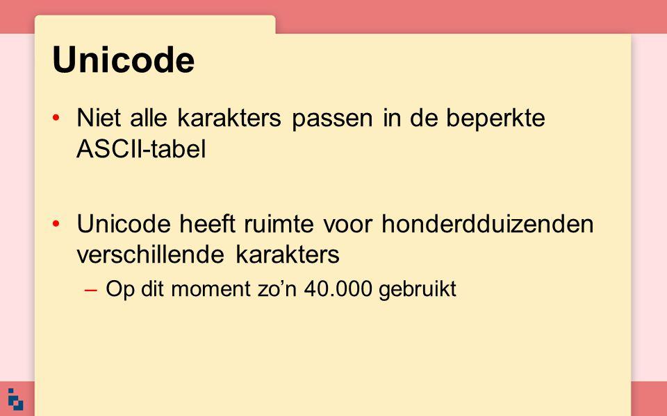 Unicode Niet alle karakters passen in de beperkte ASCII-tabel Unicode heeft ruimte voor honderdduizenden verschillende karakters –Op dit moment zo'n 4