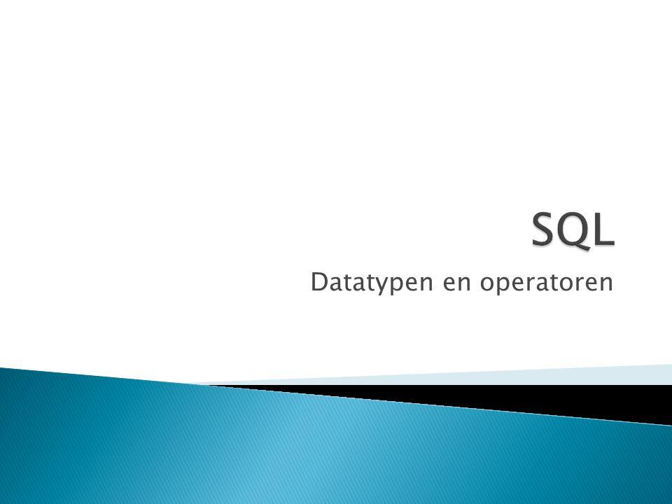 Datatypen en operatoren