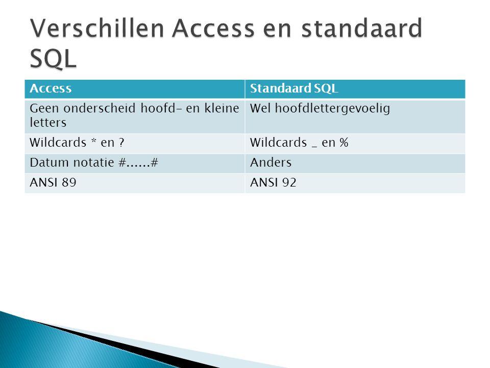 AccessStandaard SQL Geen onderscheid hoofd- en kleine letters Wel hoofdlettergevoelig Wildcards * en Wildcards _ en % Datum notatie #......#Anders ANSI 89ANSI 92