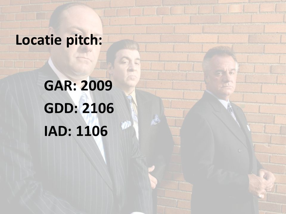 Locatie pitch: GAR: 2009 GDD: 2106 IAD: 1106
