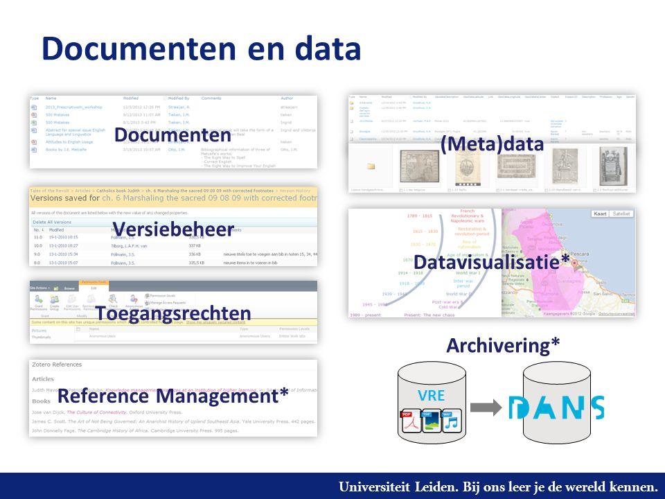 Universiteit Leiden. Bij ons leer je de wereld kennen. Documenten en data Versiebeheer Documenten Datavisualisatie* Reference Management* VRE Archiver