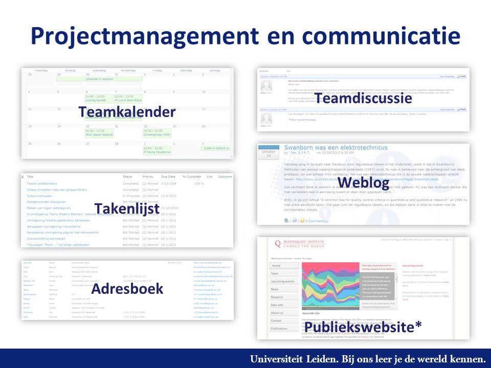Universiteit Leiden. Bij ons leer je de wereld kennen. Projectmanagement en communicatie Teamkalender Takenlijst Teamdiscussie Weblog Adresboek Publie