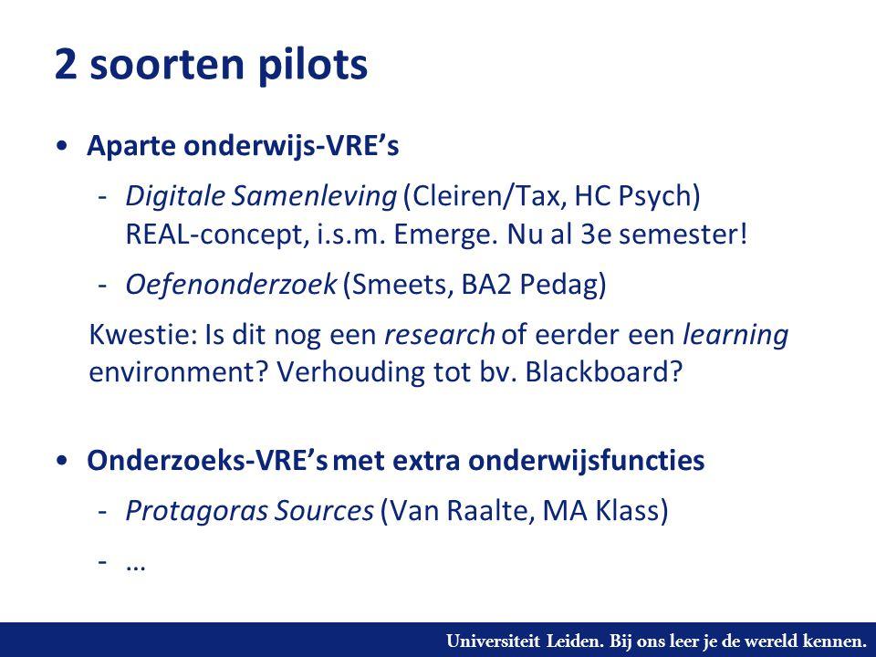 Universiteit Leiden. Bij ons leer je de wereld kennen. 2 soorten pilots Aparte onderwijs-VRE's -Digitale Samenleving (Cleiren/Tax, HC Psych) REAL-conc