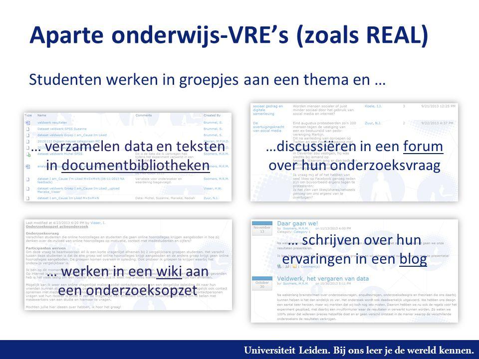Universiteit Leiden. Bij ons leer je de wereld kennen. Aparte onderwijs-VRE's (zoals REAL) …discussiëren in een forum over hun onderzoeksvraag … werke