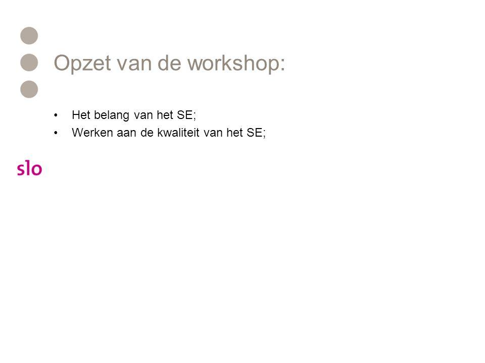 Opzet van de workshop: Het belang van het SE; Werken aan de kwaliteit van het SE;