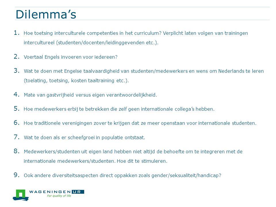 Dilemma's 1. Hoe toetsing interculturele competenties in het curriculum? Verplicht laten volgen van trainingen intercultureel (studenten/docenten/leid