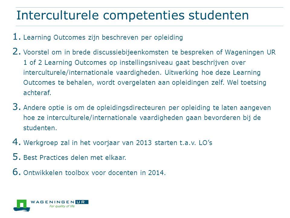 Interculturele competenties studenten 1. Learning Outcomes zijn beschreven per opleiding 2. Voorstel om in brede discussiebijeenkomsten te bespreken o