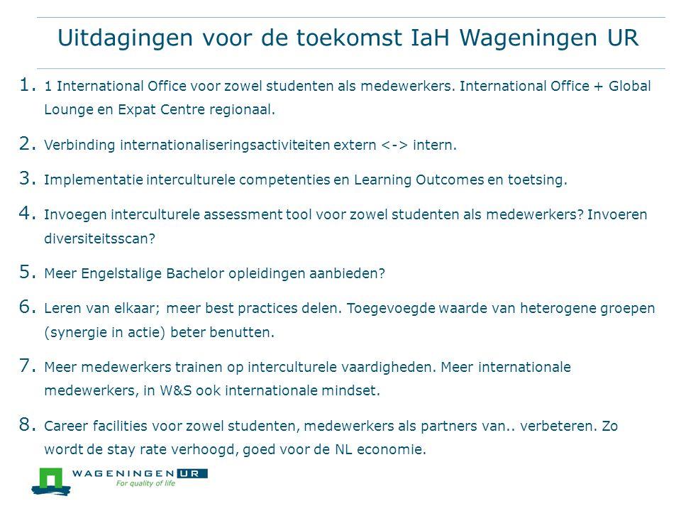Uitdagingen voor de toekomst IaH Wageningen UR 1. 1 International Office voor zowel studenten als medewerkers. International Office + Global Lounge en