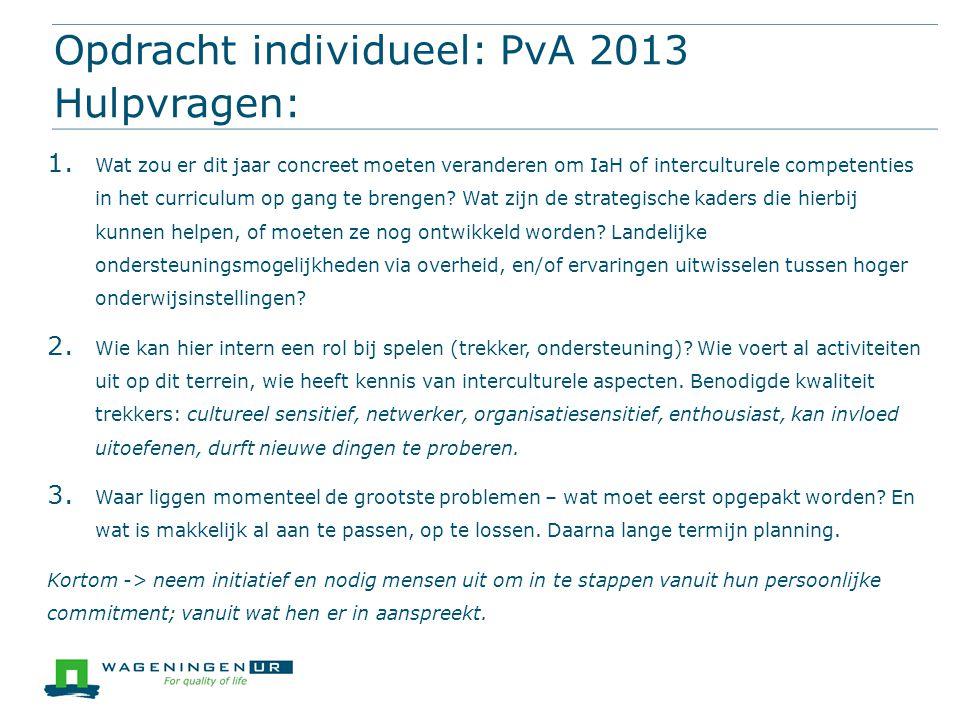 Opdracht individueel: PvA 2013 Hulpvragen: 1. Wat zou er dit jaar concreet moeten veranderen om IaH of interculturele competenties in het curriculum o