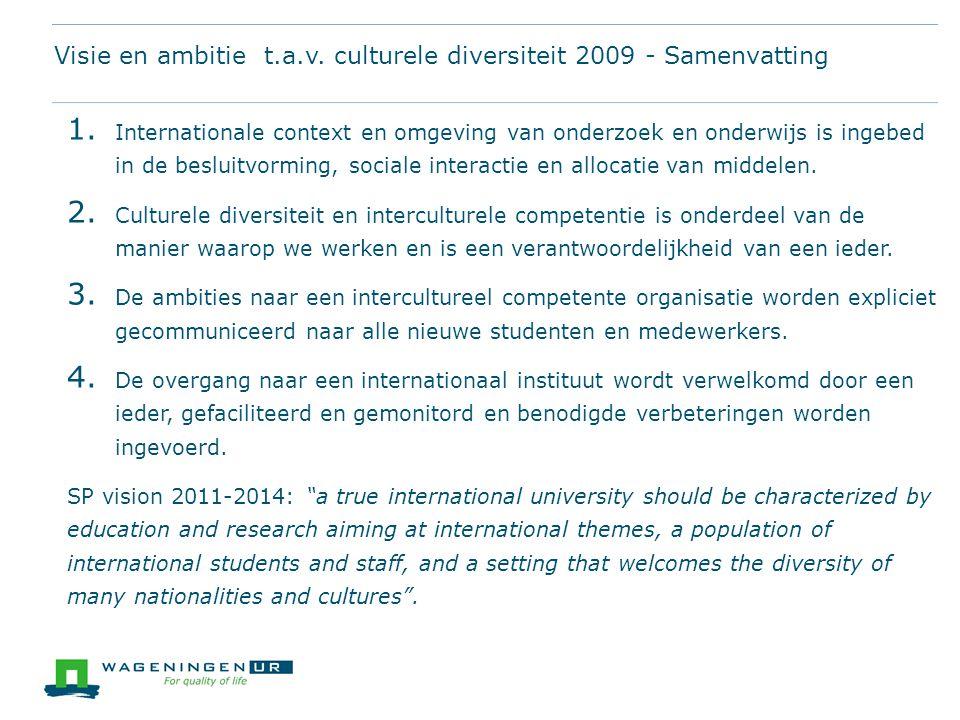 Visie en ambitie t.a.v. culturele diversiteit 2009 - Samenvatting 1. Internationale context en omgeving van onderzoek en onderwijs is ingebed in de be