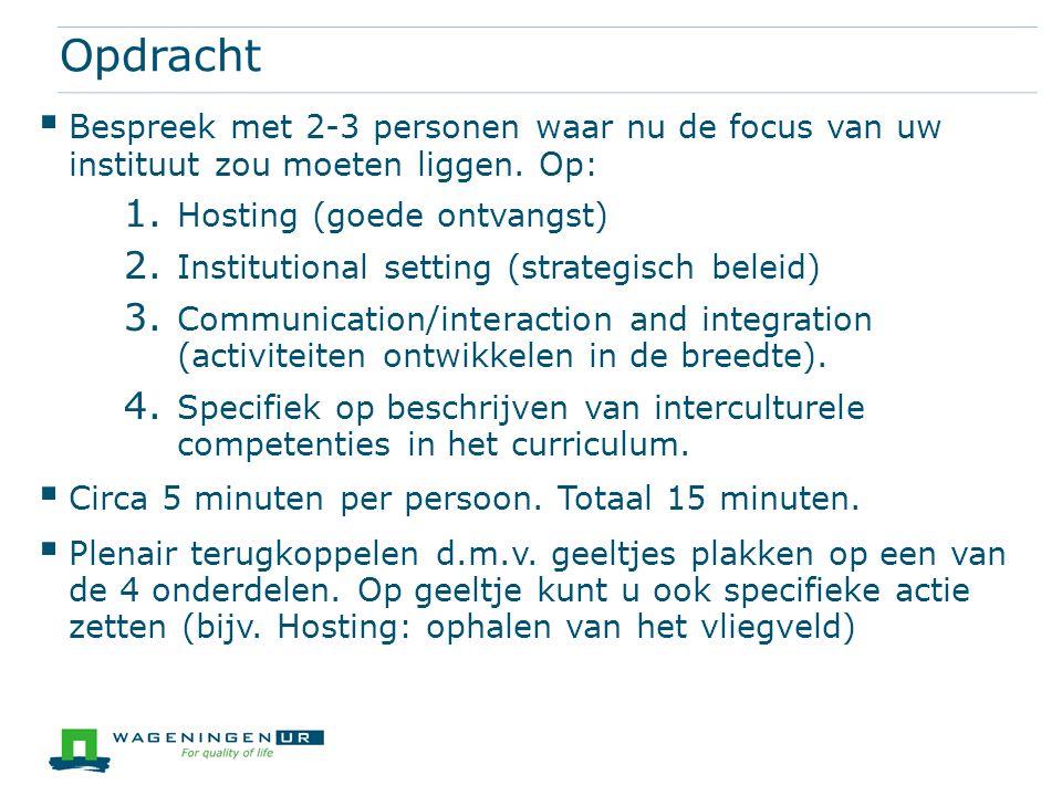Opdracht  Bespreek met 2-3 personen waar nu de focus van uw instituut zou moeten liggen. Op: 1. Hosting (goede ontvangst) 2. Institutional setting (s