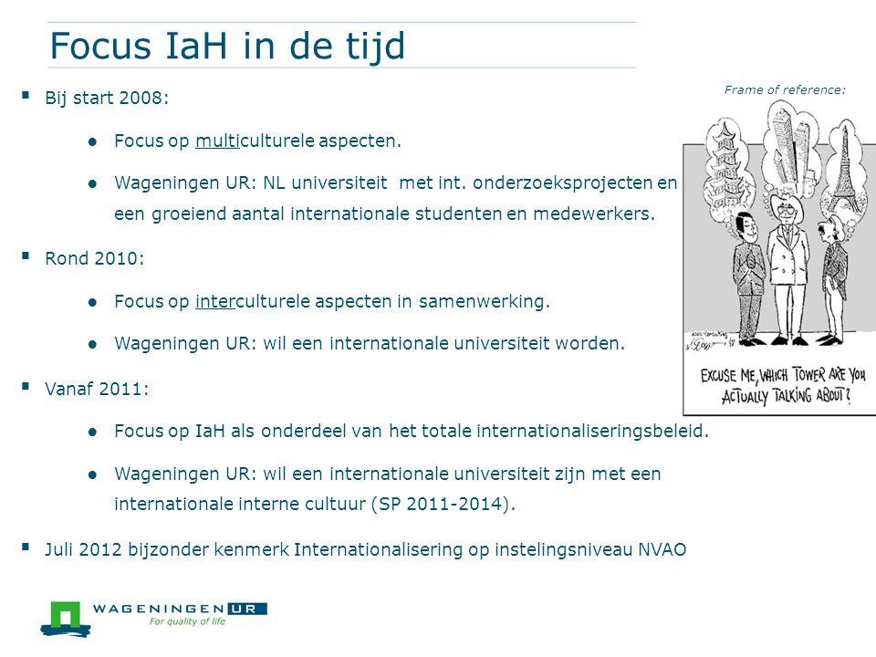 Focus IaH in de tijd  Bij start 2008: ● Focus op multiculturele aspecten. ● Wageningen UR: NL universiteit met int. onderzoeksprojecten en een groeie