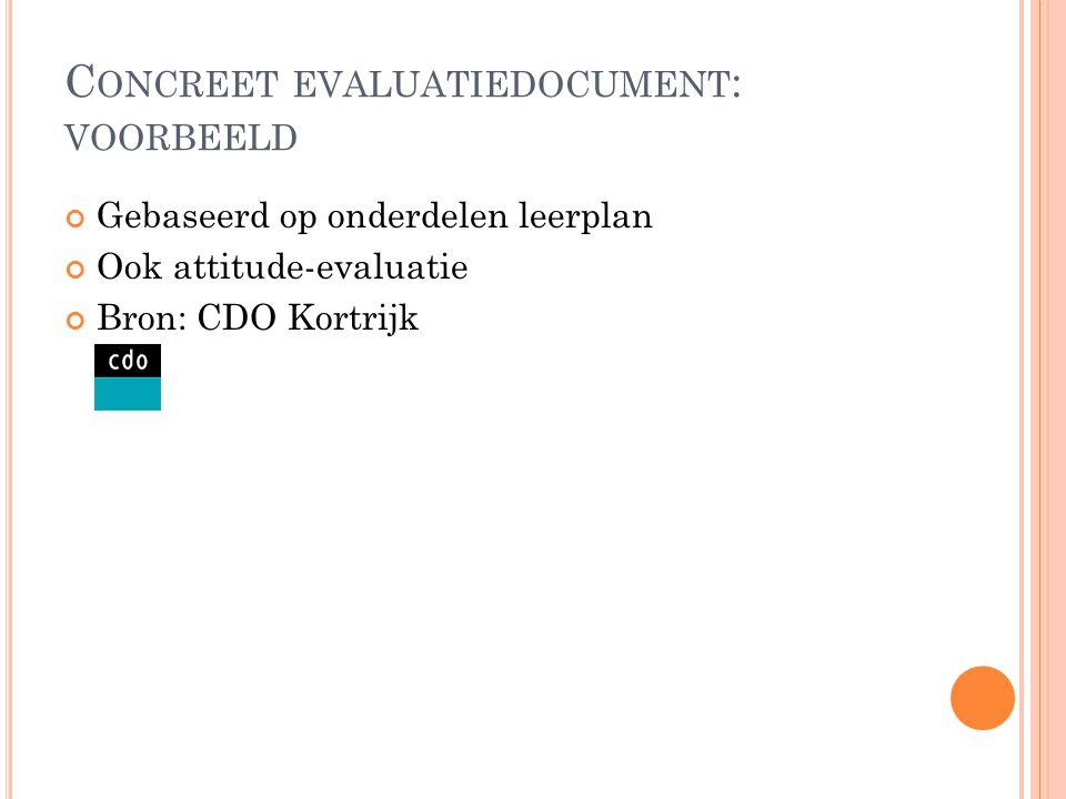 C ONCREET EVALUATIEDOCUMENT : VOORBEELD Gebaseerd op onderdelen leerplan Ook attitude-evaluatie Bron: CDO Kortrijk