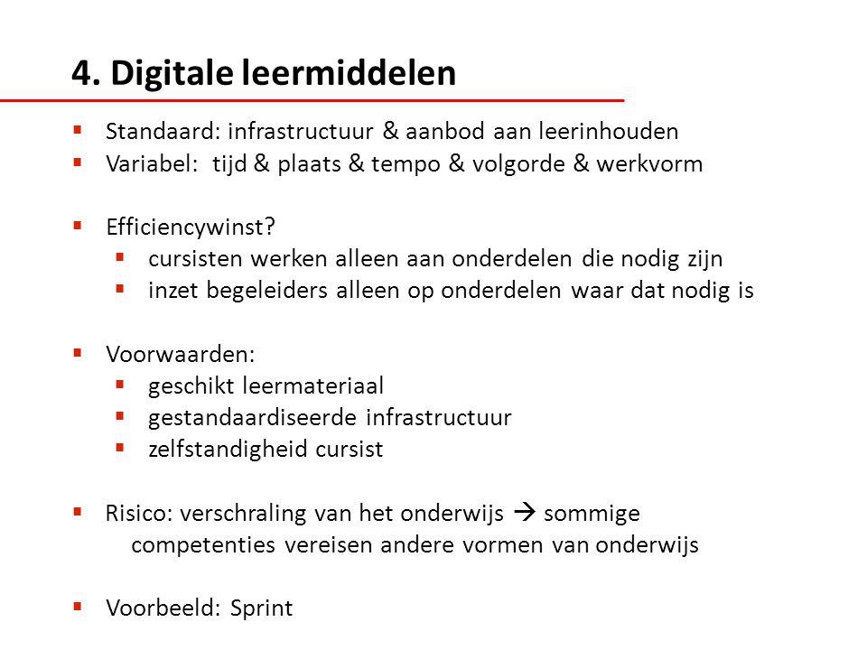  Standaard: infrastructuur & aanbod aan leerinhouden  Variabel: tijd & plaats & tempo & volgorde & werkvorm  Efficiencywinst.
