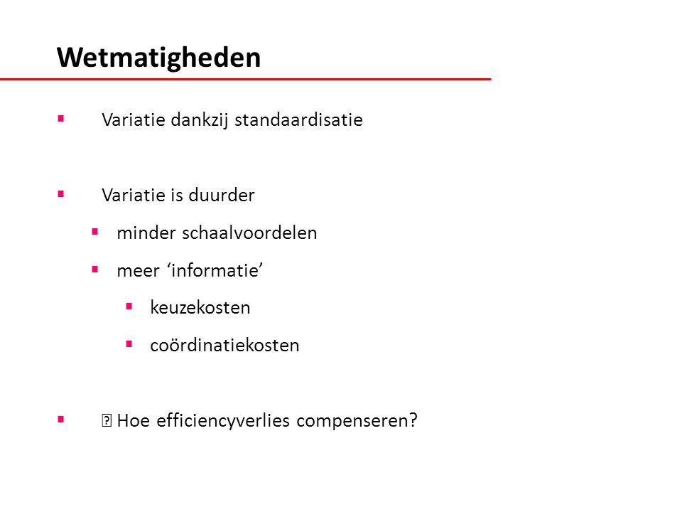  Variatie dankzij standaardisatie  Variatie is duurder  minder schaalvoordelen  meer 'informatie'  keuzekosten  coördinatiekosten  Hoe efficiencyverlies compenseren.