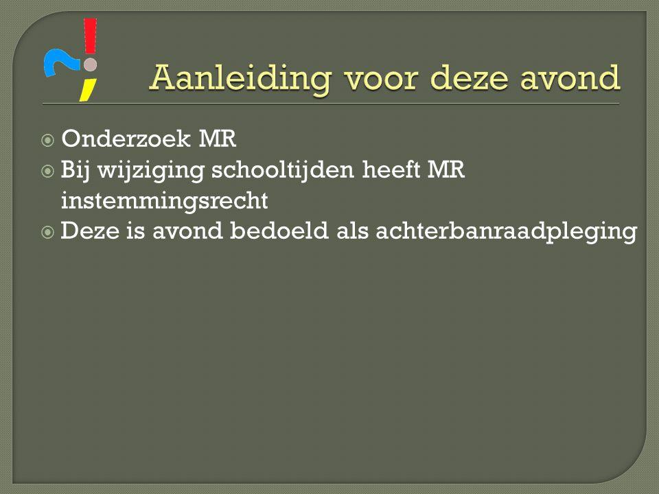  Onderzoek MR  Bij wijziging schooltijden heeft MR instemmingsrecht  Deze is avond bedoeld als achterbanraadpleging