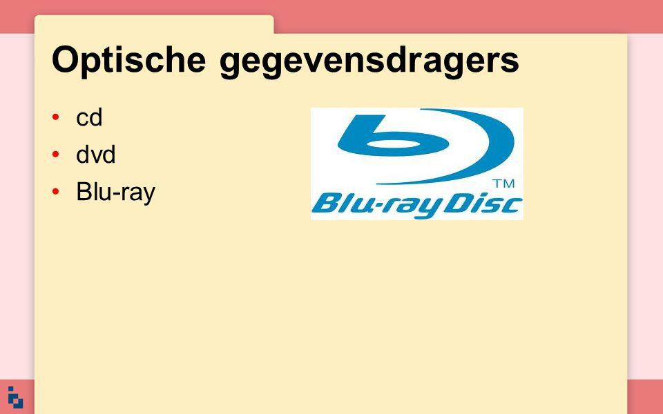 Optische gegevensdragers cd dvd Blu-ray