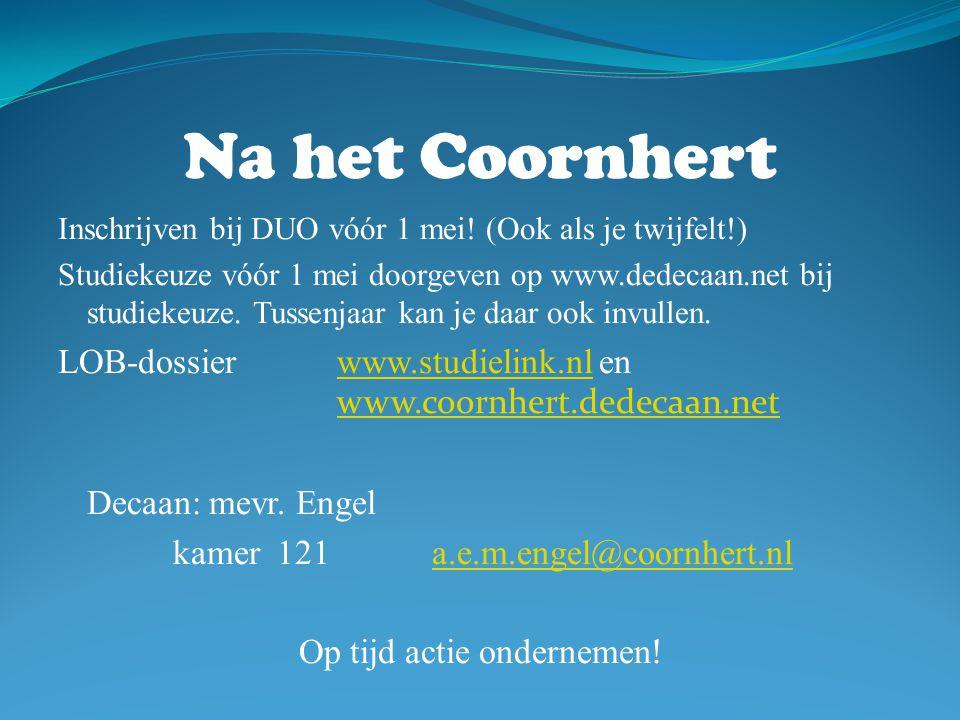 Na het Coornhert Inschrijven bij DUO vóór 1 mei.