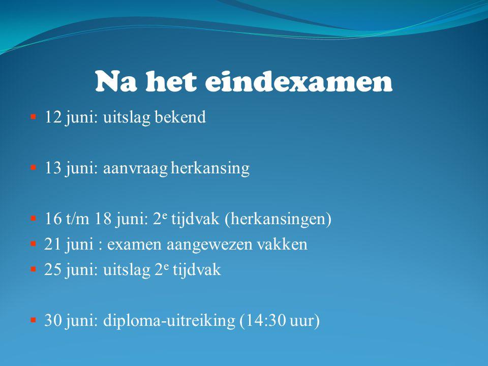 Na het eindexamen  12 juni: uitslag bekend  13 juni: aanvraag herkansing  16 t/m 18 juni: 2 e tijdvak (herkansingen)  21 juni : examen aangewezen vakken  25 juni: uitslag 2 e tijdvak  30 juni: diploma-uitreiking (14:30 uur)