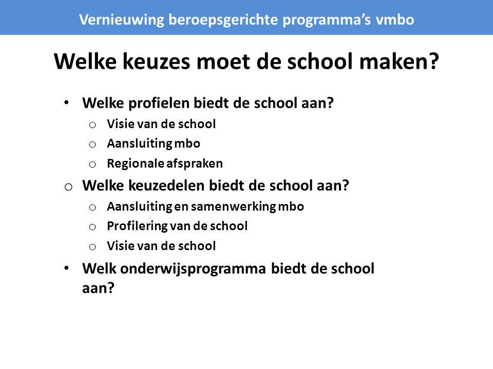 Welke keuzes moet de school maken.