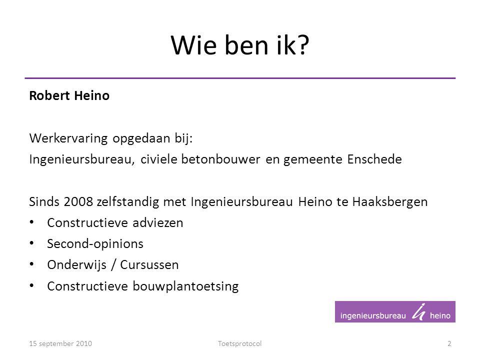 Wie ben ik? Robert Heino Werkervaring opgedaan bij: Ingenieursbureau, civiele betonbouwer en gemeente Enschede Sinds 2008 zelfstandig met Ingenieursbu