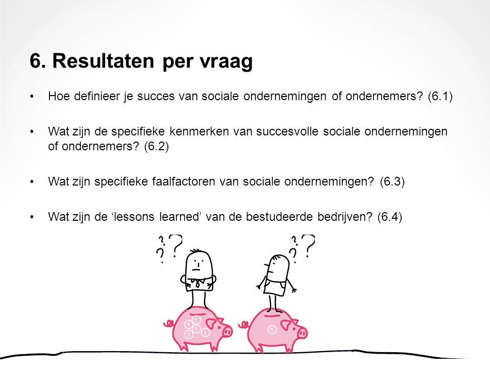6. Resultaten per vraag Hoe definieer je succes van sociale ondernemingen of ondernemers? (6.1) Wat zijn de specifieke kenmerken van succesvolle socia