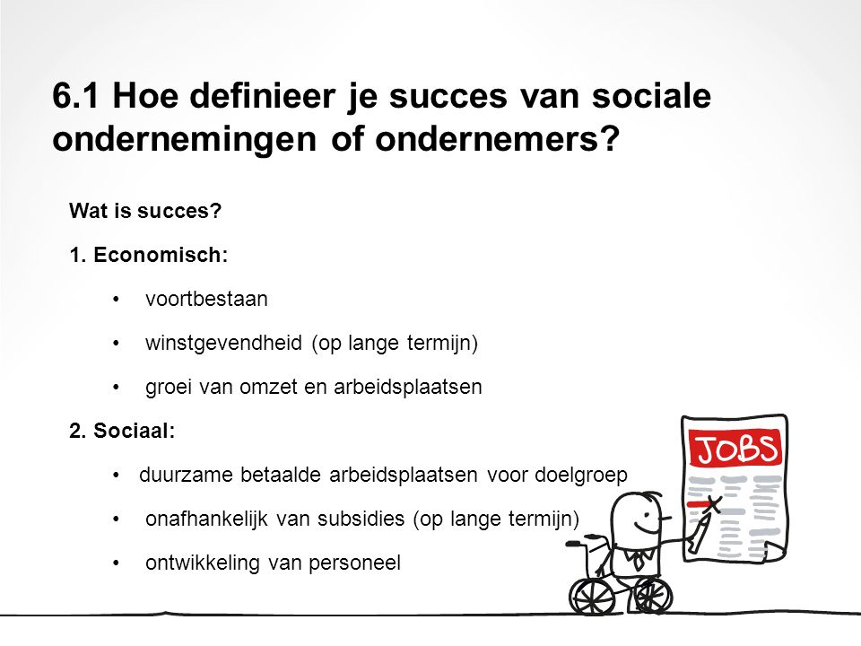 Wat is succes? 1. Economisch: voortbestaan winstgevendheid (op lange termijn) groei van omzet en arbeidsplaatsen 2. Sociaal: duurzame betaalde arbeids