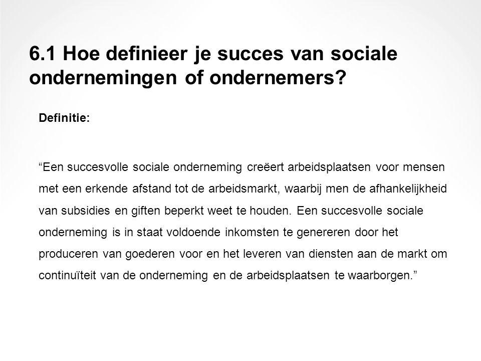 """Definitie: """"Een succesvolle sociale onderneming creëert arbeidsplaatsen voor mensen met een erkende afstand tot de arbeidsmarkt, waarbij men de afhank"""