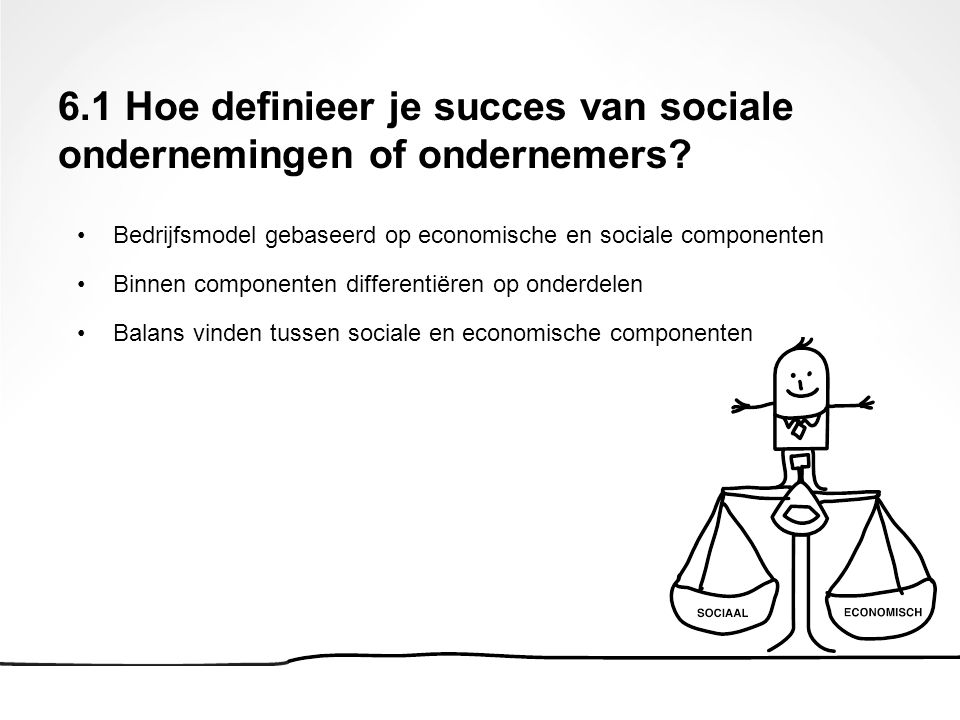 Bedrijfsmodel gebaseerd op economische en sociale componenten Binnen componenten differentiëren op onderdelen Balans vinden tussen sociale en economis