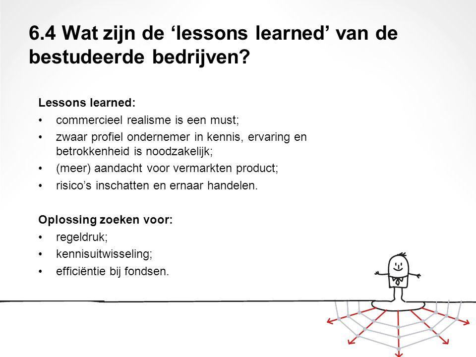 Lessons learned: commercieel realisme is een must; zwaar profiel ondernemer in kennis, ervaring en betrokkenheid is noodzakelijk; (meer) aandacht voor