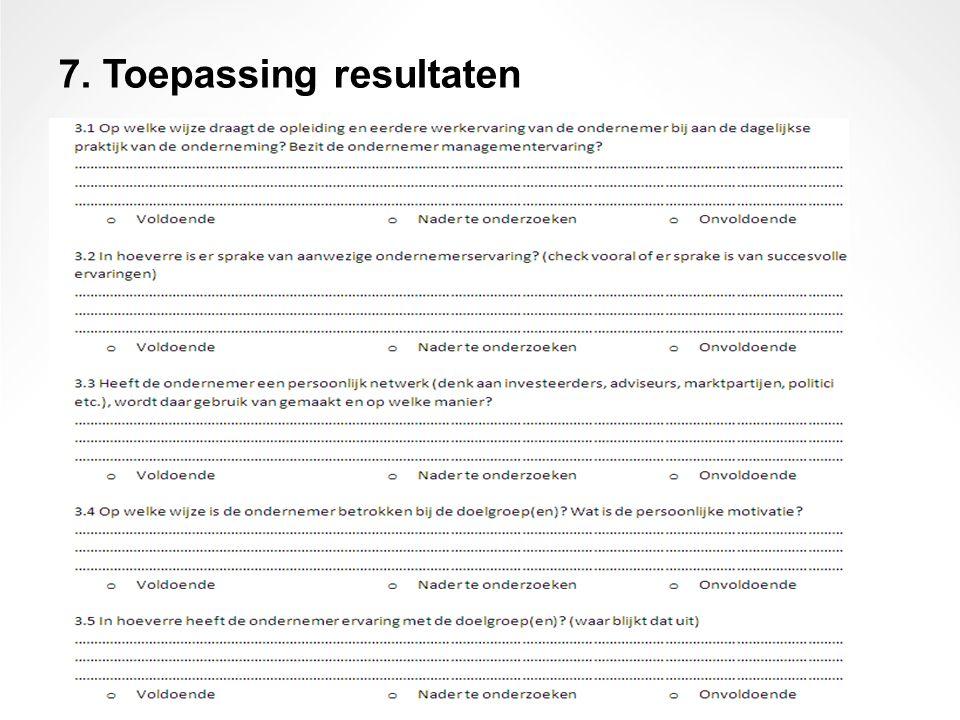 7. Toepassing resultaten