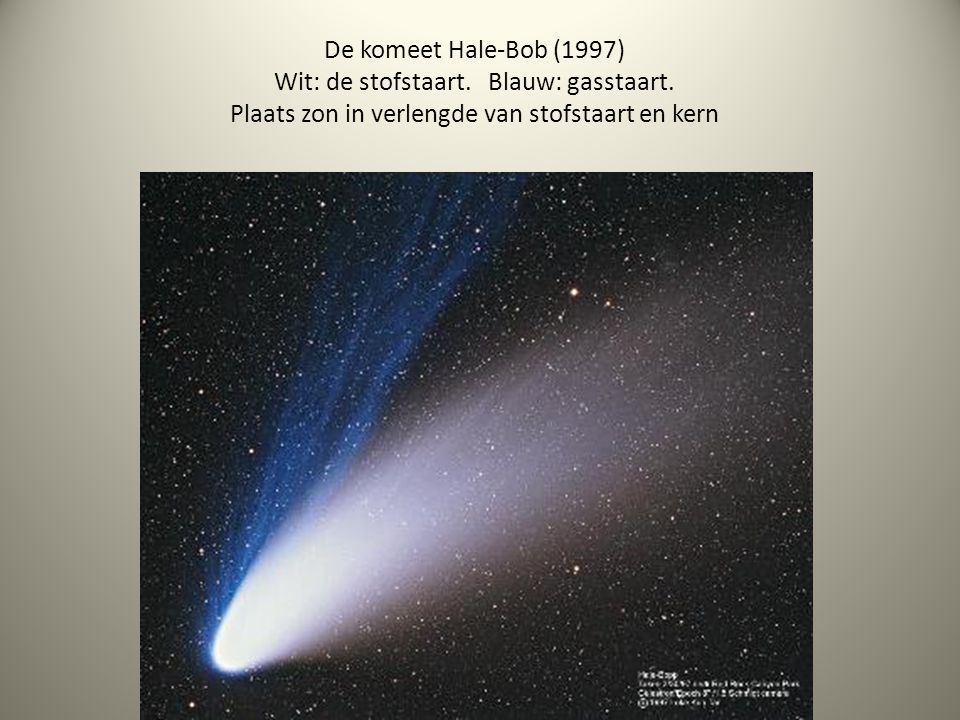 De komeet Hale-Bob (1997) Wit: de stofstaart. Blauw: gasstaart. Plaats zon in verlengde van stofstaart en kern