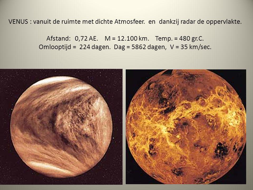 VENUS : vanuit de ruimte met dichte Atmosfeer. en dankzij radar de oppervlakte. Afstand: 0,72 AE. M = 12.100 km. Temp. = 480 gr.C. Omlooptijd = 224 da