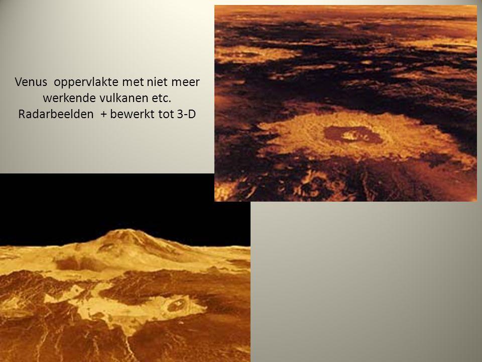 Venus oppervlakte met niet meer werkende vulkanen etc. Radarbeelden + bewerkt tot 3-D